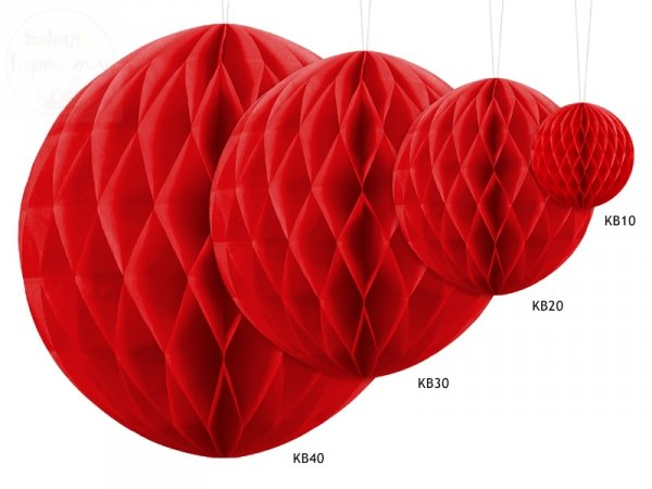 Kula bibułowa czerwony 40 cm