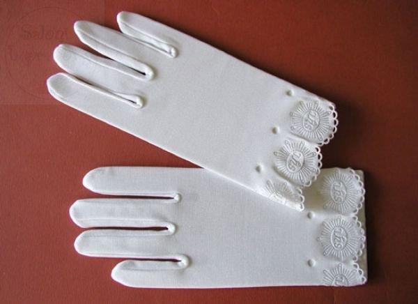 Rękawiczki komunijne z tłoczonym IHS - 1 para