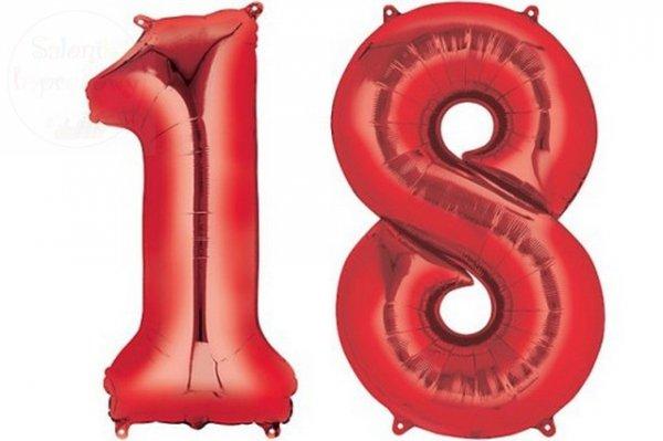 """Balon foliowy czerwona Cyfra """"18""""  85 cm"""