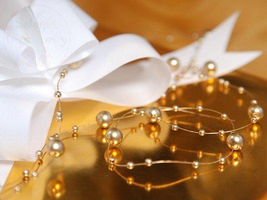 Girlanda perłowa złota 1,3m 5 szt GP24