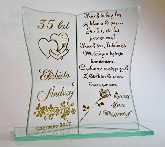 Zaktualizowano kieliszki ślubne Statuetka prezent na Rocznicę ślubu, Jubileusz SK07