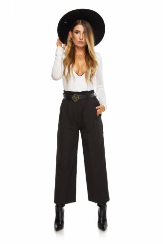 eleganckie spodnie kuloty z wysokim stanem