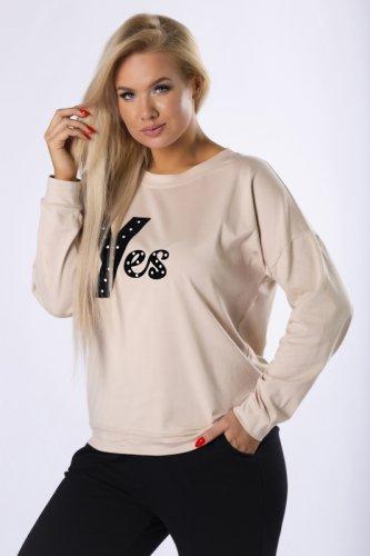 bawełniana bluza z welurowym nadrukiem na biuście
