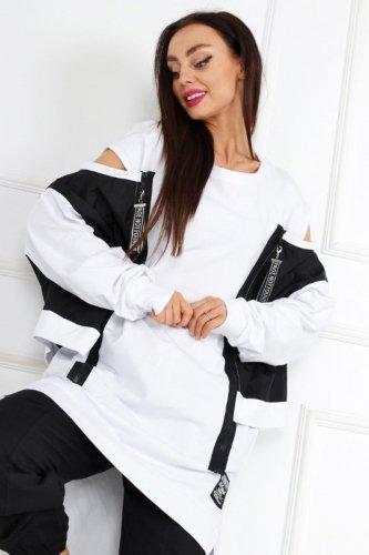 długa bluza z ortalionowymi wstawkami