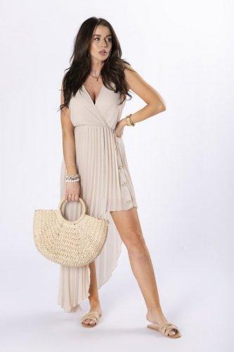 asymetryczna sukienka z plisowaniem