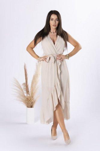 szyfonowa sukienka midi z falbanami