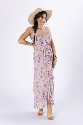 szyfonowa sukienka maxi na ramiączkach