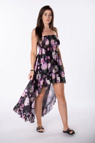 asymetryczna sukienka z hiszpańskim dekoltem