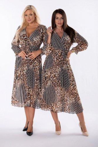 plisowana sukienka midi z printem