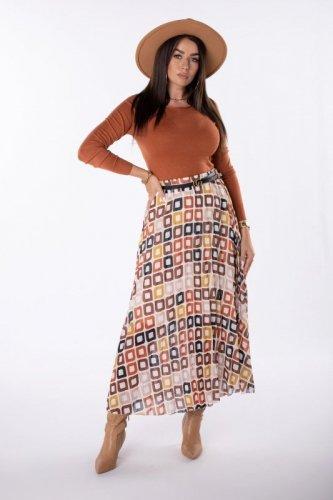 Plisowana spódnica w kontrastowy wzór