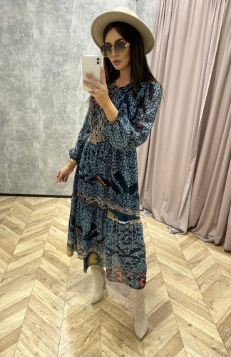 sukienka midi w zwierzęcy wzór