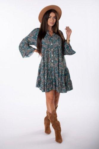 trapezowa sukienka z printem