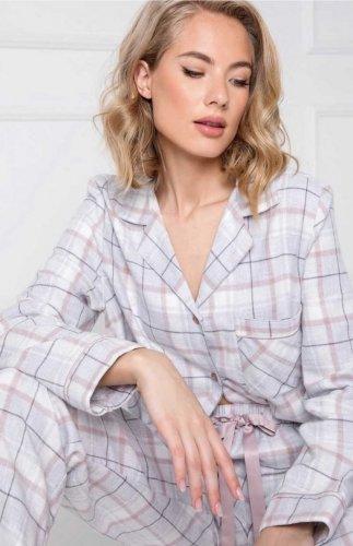 Piżama flanelowa damska rozpinana Aruelle Amalia Long