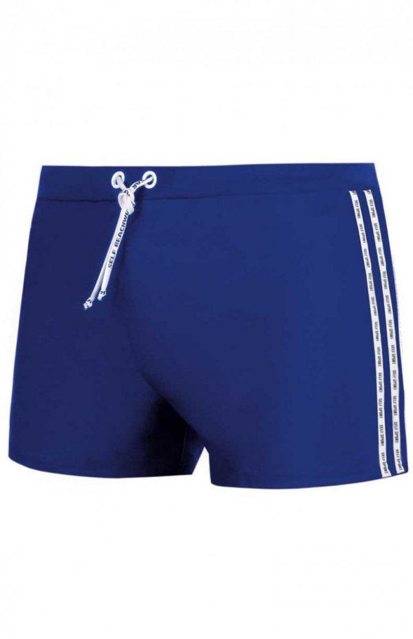 kąpielówki męskie niebieskie bokserki ze sznurkiem