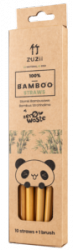 Wielorazowe słomki bambusowe, do zimnych i ciepłych napojów, 10 szt. + czyścik, ZUZii