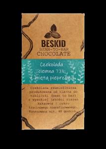 Czekolada ciemna 73% z dodatkiem mięty pieprzowej, 50g, Beskid Chocolate