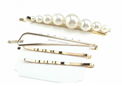 157h komplet spinek z białymi perłami