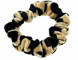 1305 Brązowo-czarna aksamitna gumka do włosów