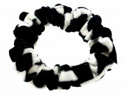 387a Czarno-biała aksamitna gumka do włosów