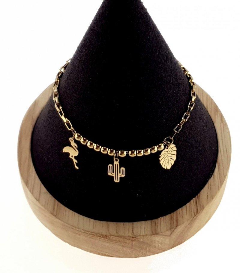 1515 Bransoletka złota celebrytka 20cm  stal chirurgiczna