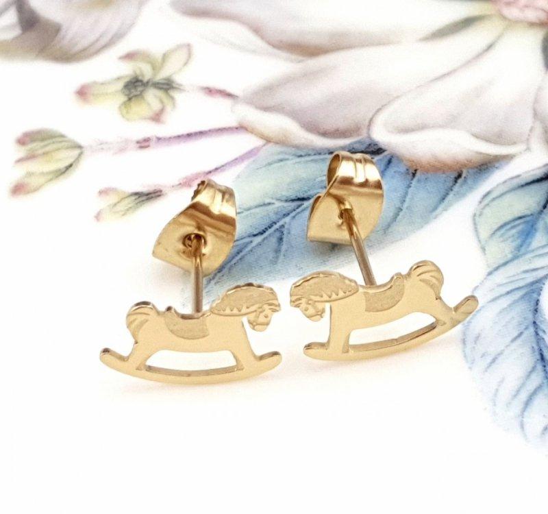 1830 Kolczyki złote celebrytki stal chirurgiczna Blueberry