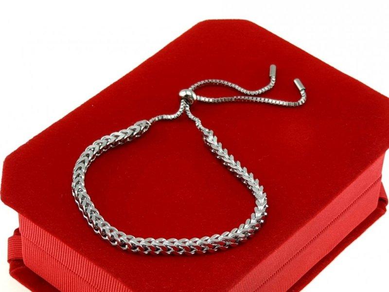 2591 Bransoletka srebrna celebrytka stal chirurgiczna