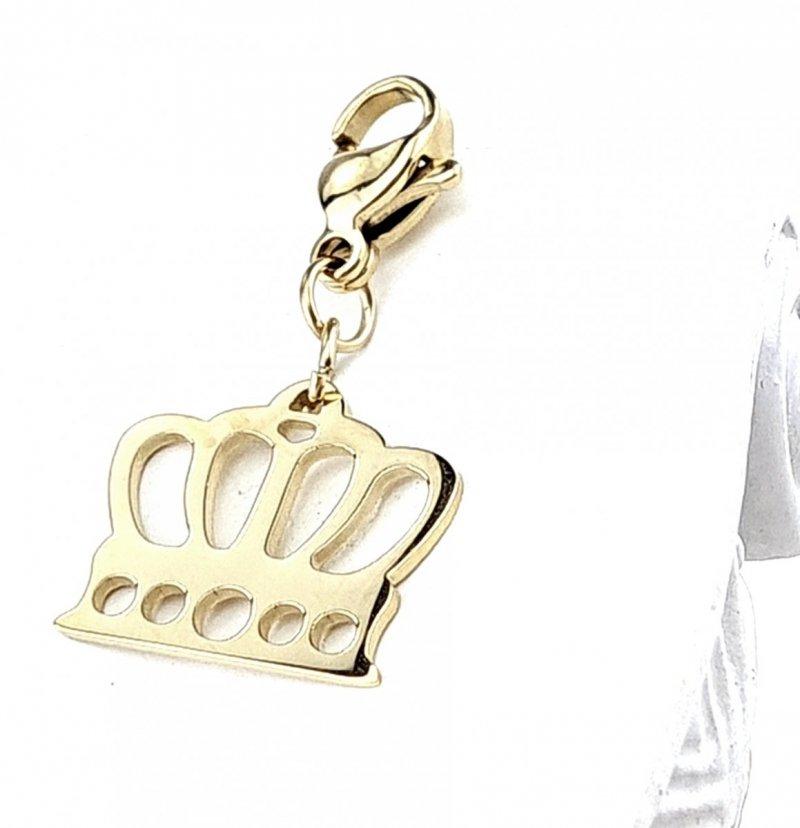 421 Złota zawieszka z karabińczykiem charms stal chirurgiczna