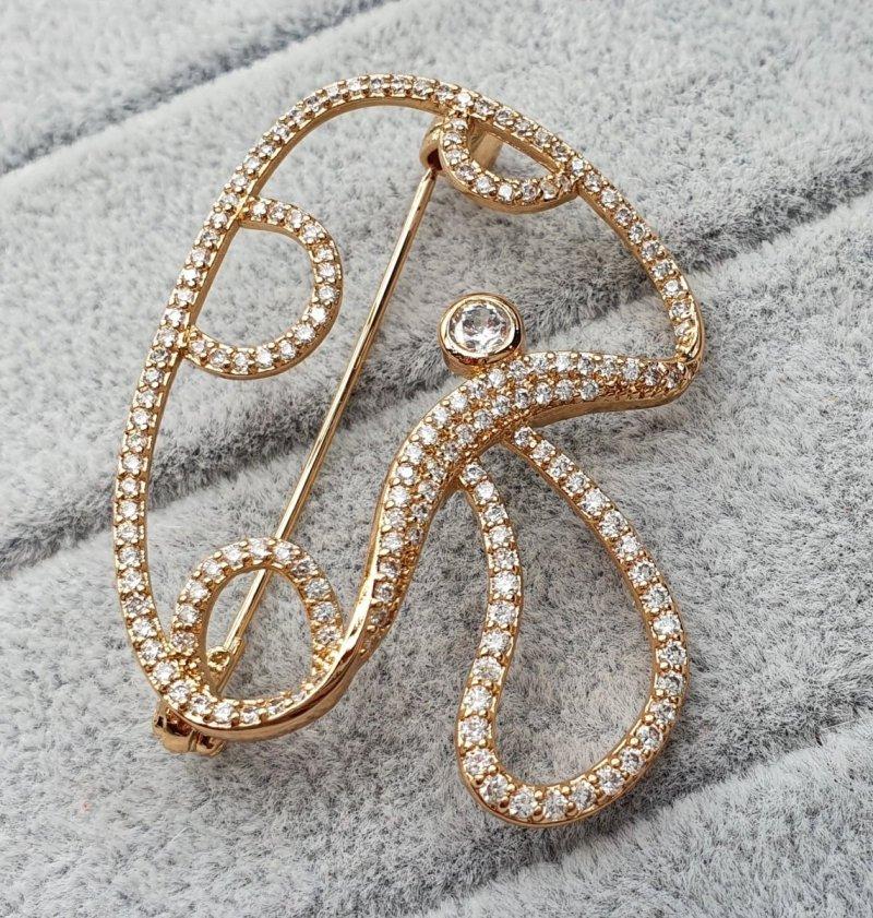 2258 Elegancka broszka złota cyrkonia