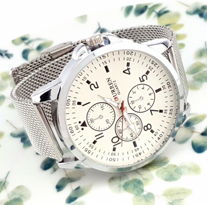 3757 Zegarek męski Kurren elegancki klasyk srebrny  stal chirurgiczna