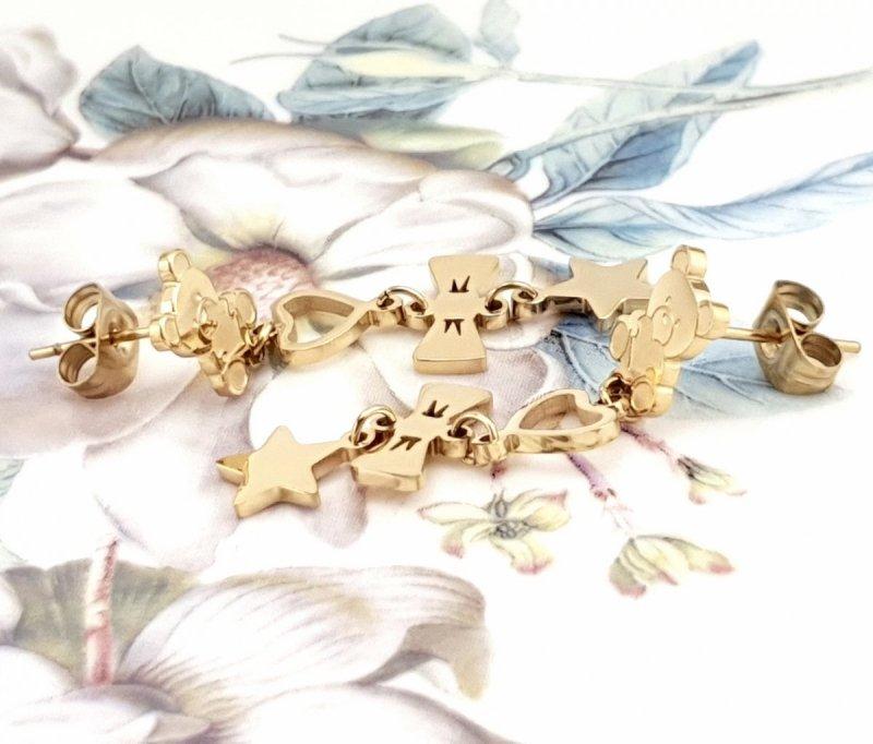 2387 Kolczyki celebrytki złote stal chirurgiczna Blueberry