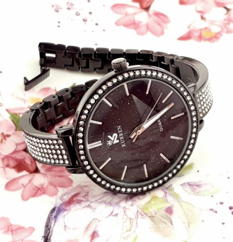 2700 Ekskluzywny damski czarny zegarek Kurren klasyk