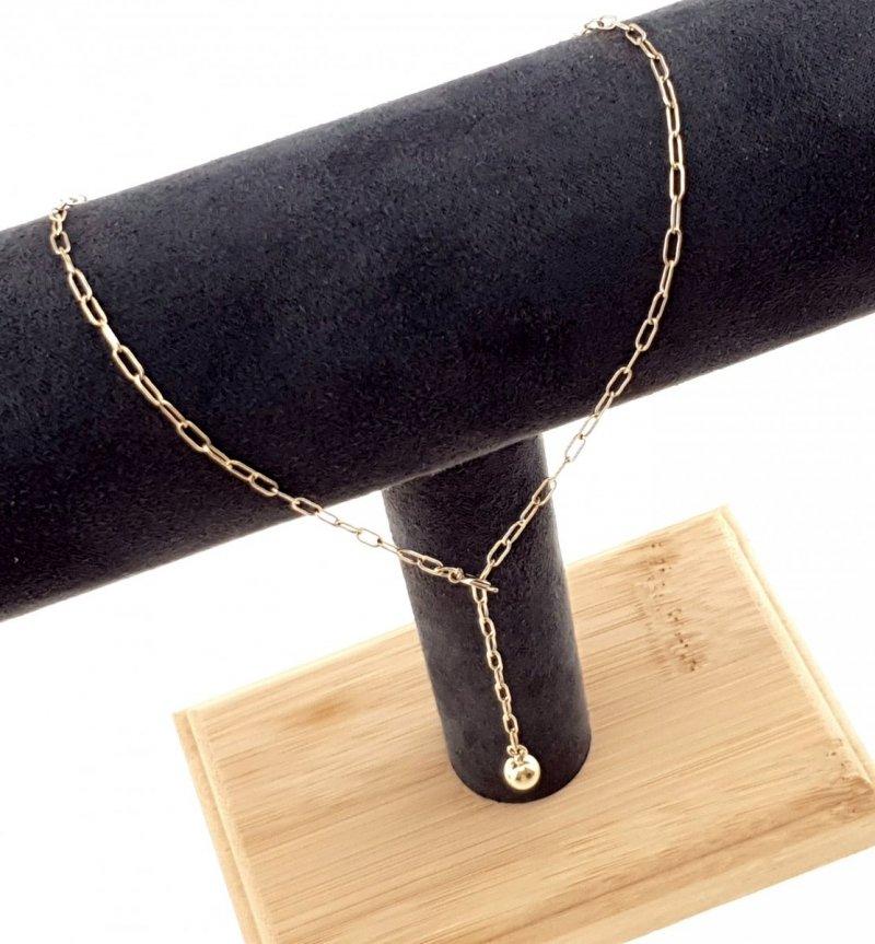 2679 Złoty łańcuszek celebrytka 45cm naszyjnik stal chirurgiczna