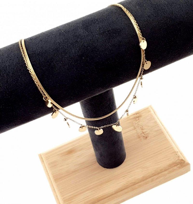 3123 Złoty łańcuszek celebrytka 45cm naszyjnik stal chirurgiczna