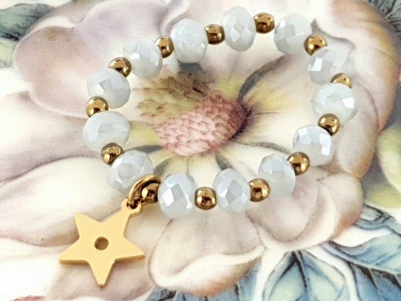 1847L Pierścionek hematyt kryształki stal chirurgiczna