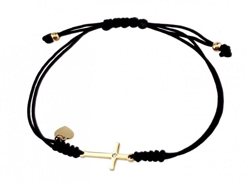 1284 Bransoletka złota celebrytka sznurek stal chirurgiczna