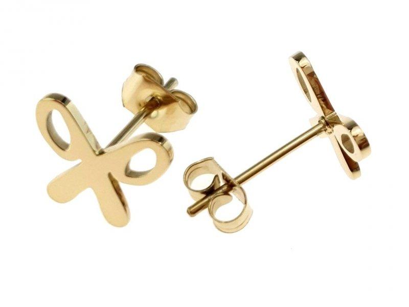 814 Kolczyki celebrytki złote stal chirurgiczna
