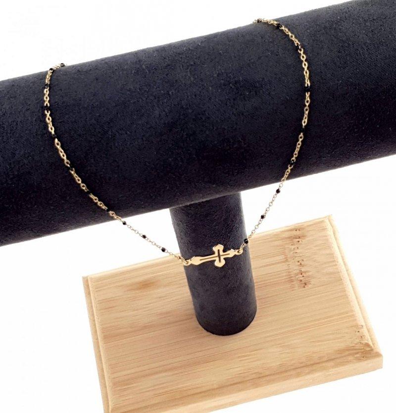 0342 Złoty łańcuszek celebrytka 43cm naszyjnik stal chirurgiczna