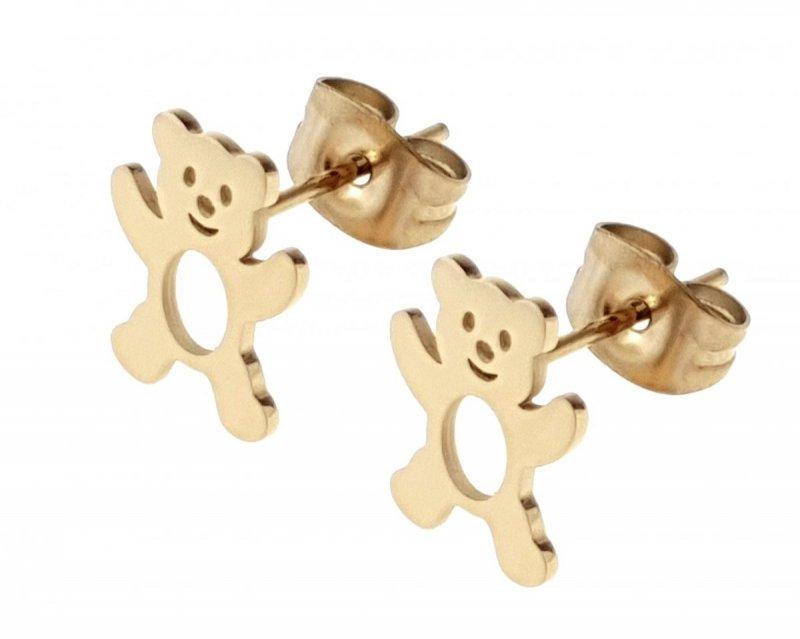 2925 Kolczyki złote celebrytki stal chirurgiczna Blueberry