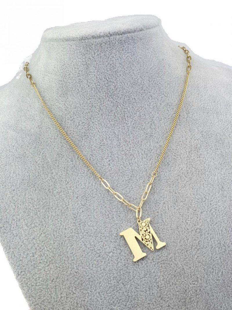 3045 Złoty łańcuszek celebrytka literka naszyjnik stal chirurgiczna