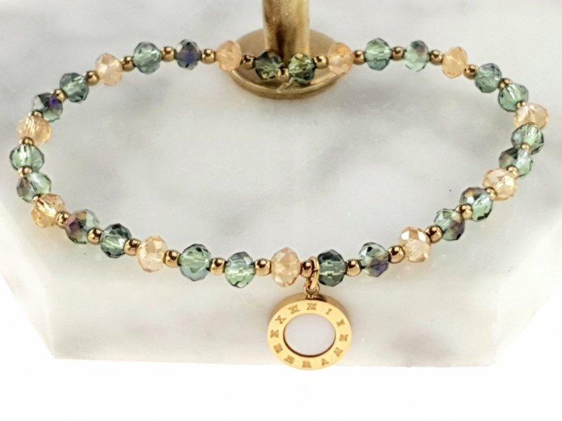 1933b Bransoletka hematyt kryształki celebrytka stal chirurgiczna