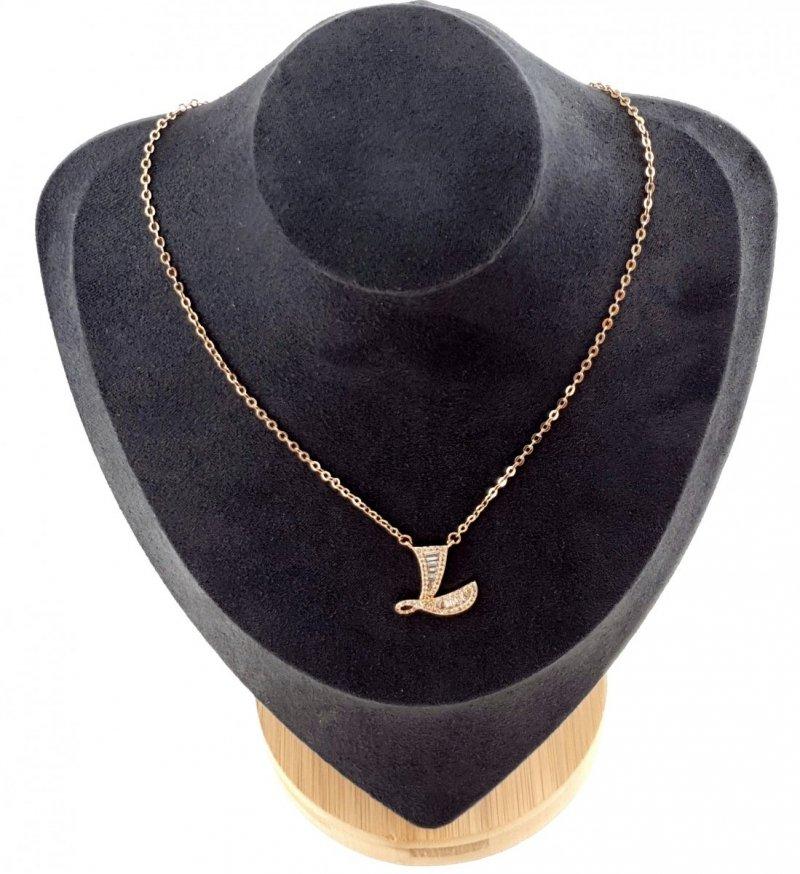394 Złoty łańcuszek celebrytka 44cm literka L naszyjnik pozłacany