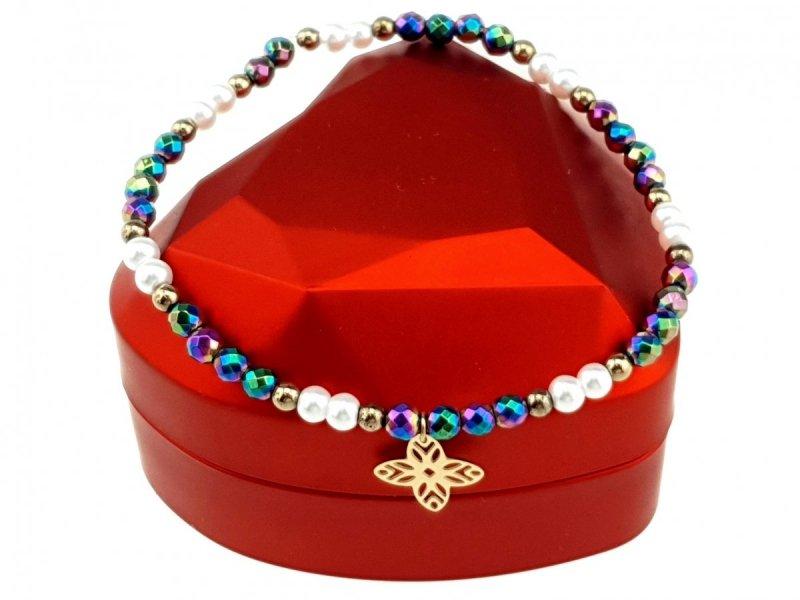 1737f Bransoletka holo hematyt kryształki celebrytka stal chirurgiczna
