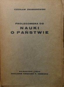 Czesław Znamierowski • Prolegomena do nauki o państwie [1930]