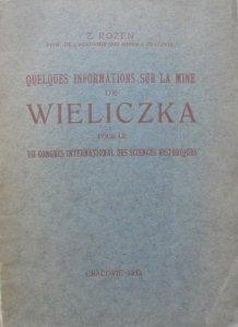 Zygmunt Rozen • Quelques informations sur la mine de Wieliczka pour le VII Congres International des Sciences Historiques [dedykacja autora]