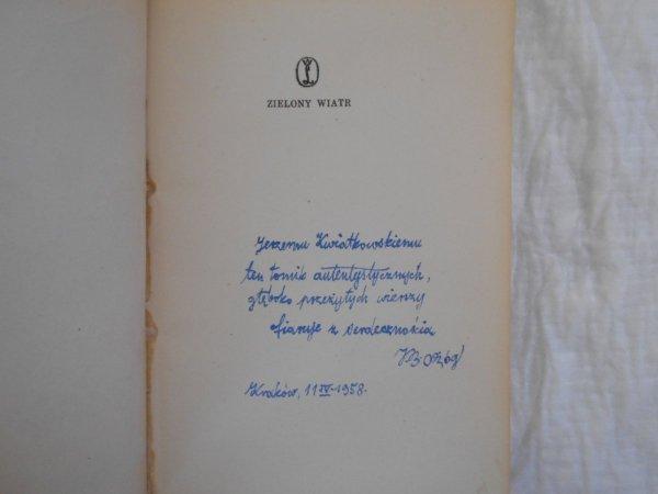 Jan Bolesław Ożóg • Zielony wiatr [dedykacja autora]