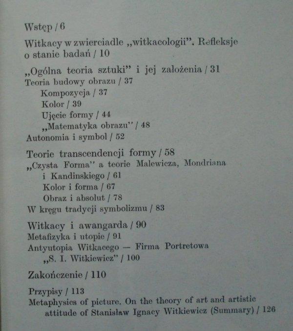 Piotr Piotrowski • Metafizyka obrazu. O teorii sztuki i postawie artystycznej Stanisława Ignacego Witkiewicza