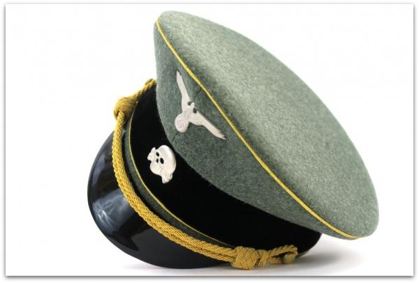 MC035 CZAPKA SCHIRMMUTZE WYŻSZEGO OFICERA GENERAŁ WAFFEN-SS - SUKNO