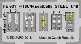 Eduard FE931 F-16C/ N seatbelts STEEL TAMIYA 1/48