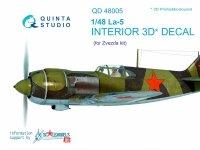 Quinta Studio QD48005 La-5 3D-Printed & coloured Interior on decal paper (for Zvezda kit) 1/48