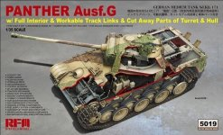Rye Field Model 5019 Panther Ausf.G w/ Full Interior & Workable Track Links & Cut Away Parts of Turret & Hull 1/35
